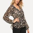 Shein Leopard Print Belt Blouse