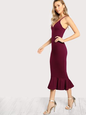 Shein High Low Fishtail Form Fitting Dress