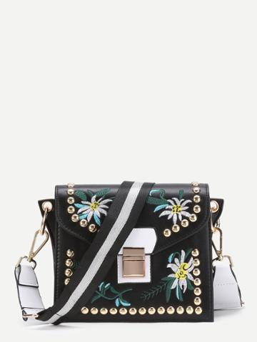 Shein Flower Embroidery Crossbody Bag With Studded