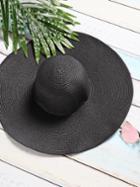 Shein Black Vacation Wide Brim Straw Hat