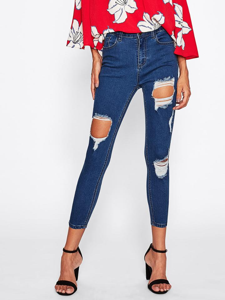 Shein Cutout Cropped Skinny Jeans