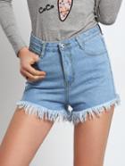 Shein Frayed Denim Blue Shorts