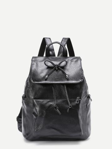 Shein Bow Tie Detail Pocket Front Pu Backpack