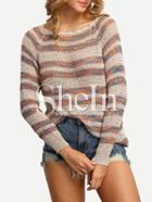 Shein Multicolor Striped Long Sleeve Sweater