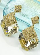 Shein White Gemstone Gold Diamond Earrings