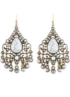 Shein White Gemstone Retro Gold Hollow Dangle Earrings