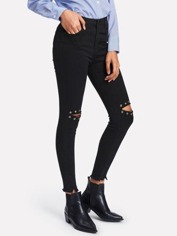 Shein Raw Hem Knee Ring Decoration Rips Jeans