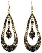 Shein Black Gemstone Gold Drop Dangle Earrings