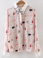 Shein Contrast Collar Embroidery Blouse