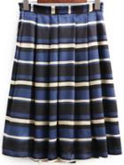 Shein Multicolor Striped Pleated Midi Skirt