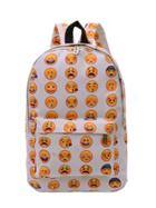 Shein Allover Emoticons Print Canvas Backpack