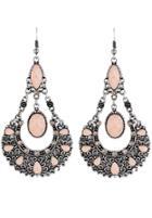 Shein Pink Gemstone Hollow Dangle Earrings