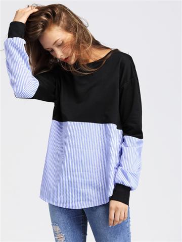 Shein Contrast Striped Drop Shoulder Pullover