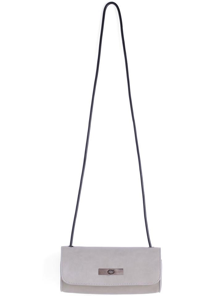 Shein Grey Twist Lock Pu Shoulder Bag