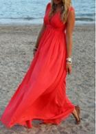 Rosewe Red V Neck Chiffon High Waist Maxi Dress
