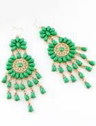 Shein Green Drop Gemstone Tassel Dangle Earrings