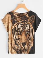 Shein Tiger Print Dolman Sleeve Tshirt