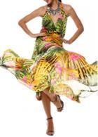 Rosewe Chiffon Halter Open Back Maxi Dress