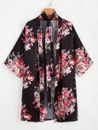 Shein Satin Random Florals Robe With Belt