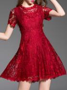 Shein Burgundy Crew Neck A-line Lace Dress