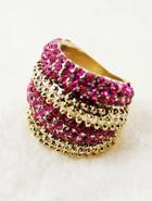 Shein Red Diamond Gold Fashion Ring