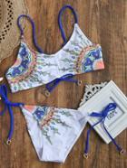 Shein White Printed Side Tie Bikini Set