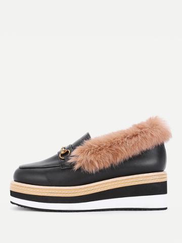 Shein Pu Platform Wedges With Faux Fur