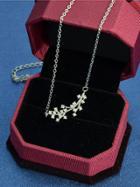 Shein Silver Rhinestone Branch Pendant Necklace
