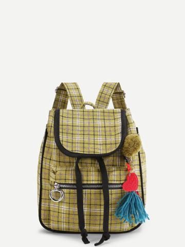 Shein Pom Pom Detail Gingham Print Backpack With Tassel