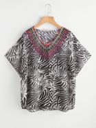 Shein Zebra Print Dolman Sleeve Chiffon Top