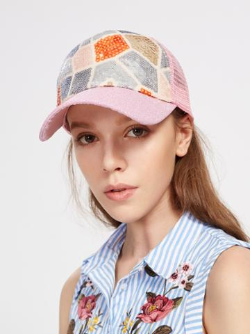 Shein Sequin Patchwork Baseball Cap