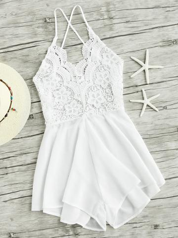 Shein Lace Panel Criss Cross Backless Romper