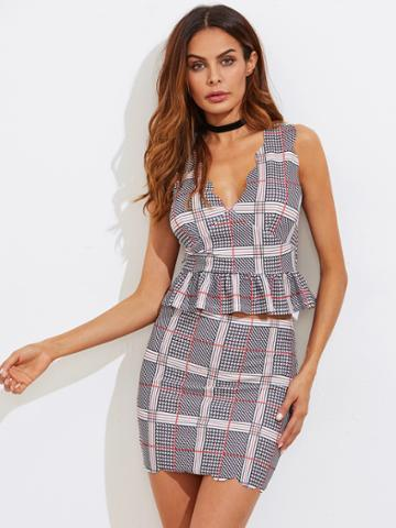 Shein Scalloped Plaid Peplum Top And Skirt Co-ord