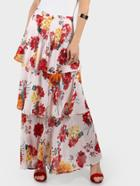 Shein Zip Back Floral Tiered Maxi Skirt