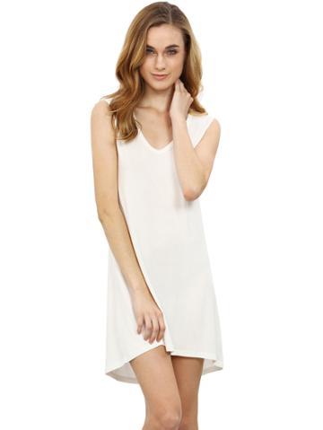 Shein White Minis Sleeveless Vest Casual Dress
