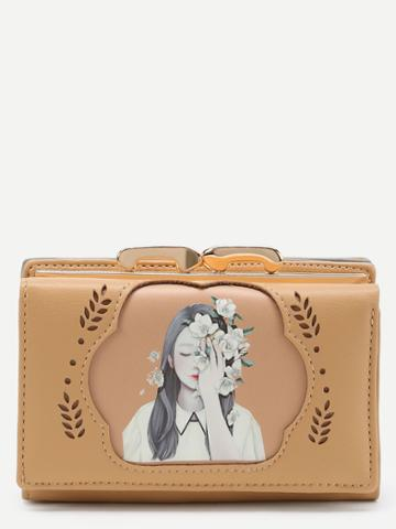 Shein Cut Out Detail Pu Wallet With Girl Print