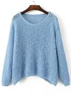 Shein Blue Hollow Out Long Sleeve Batwing Sweater