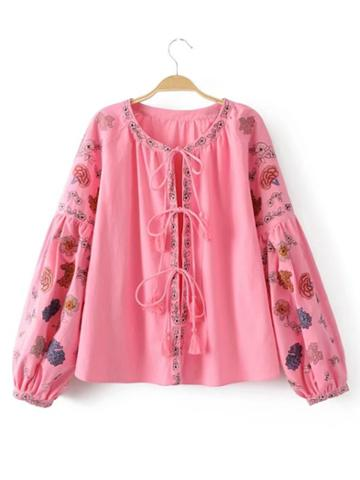 Shein Dropped Shoulders Tassel Lace Up Embroidery Coat