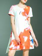 Shein Multicolor Crew Neck Print Asymmetric Dress