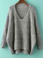 Shein Grey V Neck Batwing Sleeve Dip Hem Oversized Sweater