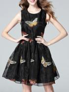 Shein Black Organza Bow Embroidered A-line Dress