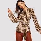 Shein Graphic Print Knot Blouse