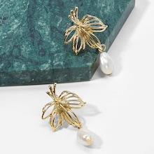 Shein Hollow Leaf Faux Pearl Drop Earrings