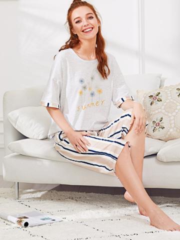 Shein Dandelion Print Tee & Striped Pants Pj Set