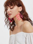 Shein Hot Pink Square Shaped Drop Earrings