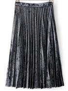 Shein Grey Pleated Midi Velvet Skirt