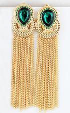 Shein Green Gemstone Gold Chain Tassel Earrings