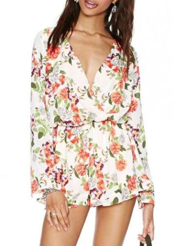 Rosewe Fabulous Print Design V Neck Long Sleeve Rompers