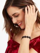 Shein Black Daisy Floral Lace Cute Bracelet