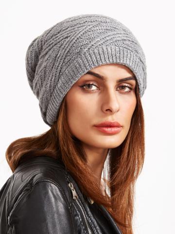 Shein Light Grey Knit Textured Drape Beanie Hat